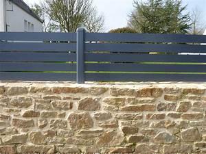 Terrasse Avec Muret : muret en pierre et clot re aluminium maison soisy ~ Premium-room.com Idées de Décoration
