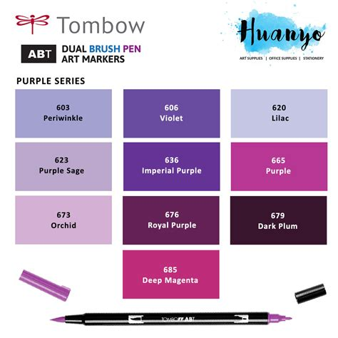 Shades Of by Tombow Dual Brush Pen Purple Shades 10 Colours