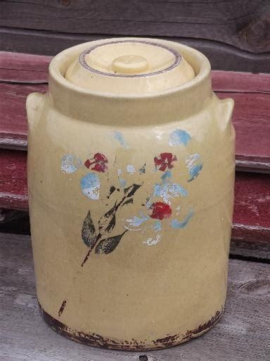 crock pottery cookie jar  kitchen canister vintage