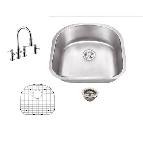 undermount kitchen sink with faucet holes schon all in one undermount stainless steel 23 in 0 9539