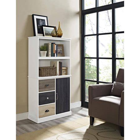 Walmart Bookcase With Glass Doors by Mercer Storage Bookcase With Multicolored Door And Drawers