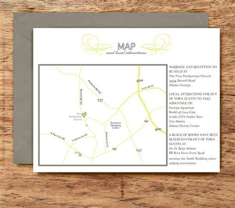 wedding invitation map and directions card chic classy