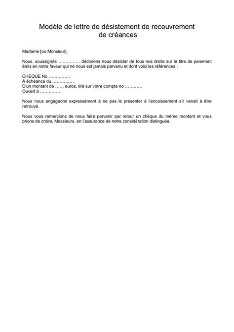 mod 232 le de lettre de d 233 sistement de recouvrement de - Modele Lettre De Desistement
