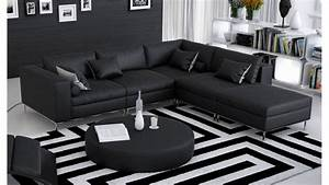 canape design romano noir en tissu pour faciliter l With canape noir design