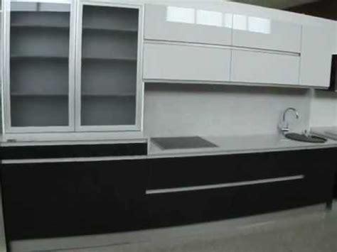 cocina blanco  negro  vitrina de aluminio youtube