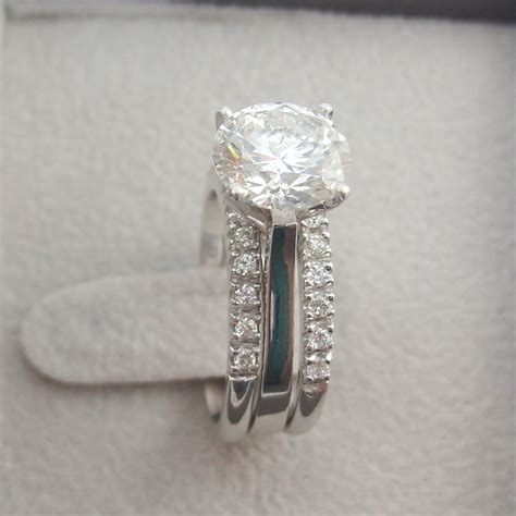 3 00 ct round d vs1 diamond engagement ring wedding band
