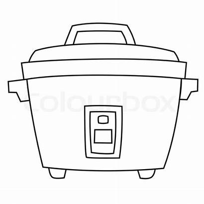 Cooker Rice Colouring Coloring Colourbox Electric Sketch