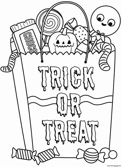 Coloring Candy Bag Treats Halloween Pages Printable