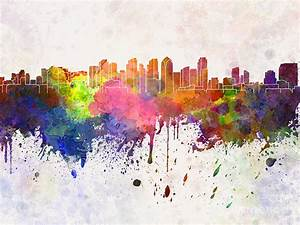 San Diego Skyline In Watercolor Background Painting by