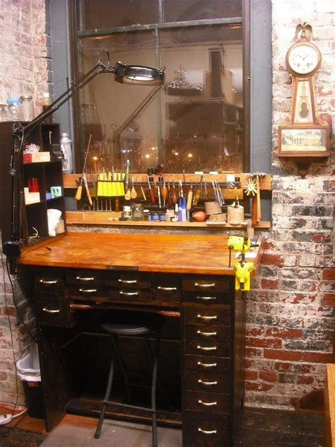 view   clock repair workbench dug north antique