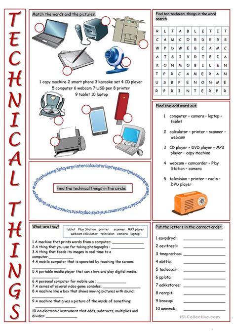 technical  vocabulary exercises worksheet  esl