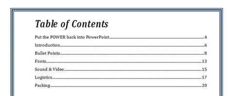 Resume Sample And Template Database Costumepartyrun - Table of contents in power point