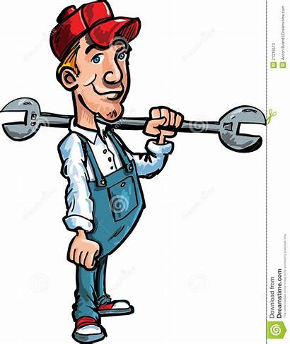 Cartoon Plumber Holding Tool Hand Plumbers Isolated