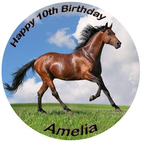 horse edible cake personalised circle animals