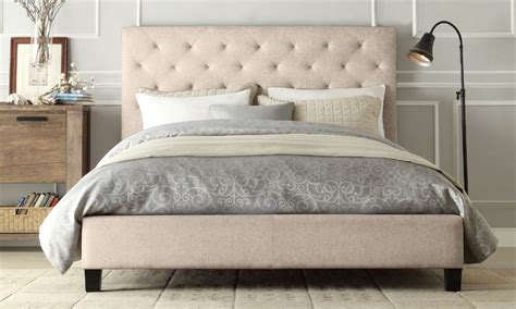 Bed Frame With Fabric Headboard by Container Door Ltd Fabric Bed Frame With Button Headboard 5