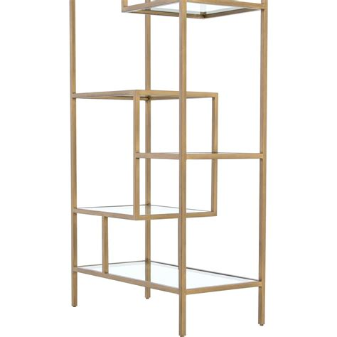 Glass Etagere Bookcase by Arnaz Modern Regency Antique Brass Glass Etagere Bookcase