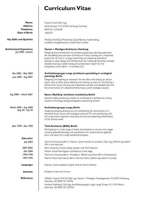 Cv Englisch Muster by Bewerbung Cv Englisch Der Lebenslauf Curriculum Vitae