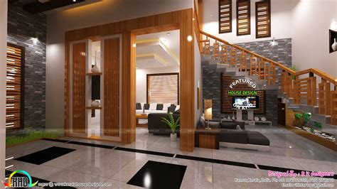 home designers living foyer stair interiors kerala home design