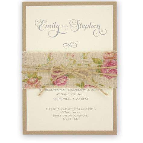 shabby chic wedding invitations uk shabby chic rose wedding invitation with burlap and twine belly band