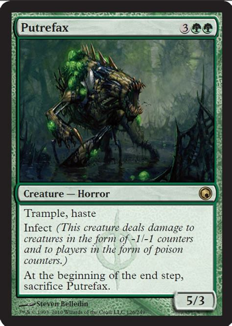 mtg infect deck blue green scars of mirrodin spoiler putrefax horror creature