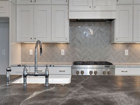 gray marble chevron kitchen backsplash white kitchen hood