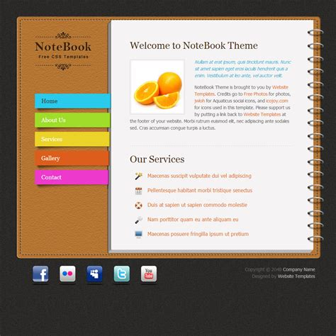 notebook free html css templates