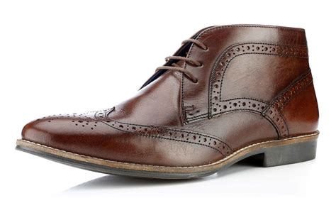 Ankle Boots : Red Tape Milton Mens Lace Up Brogue Leather Ankle Boots