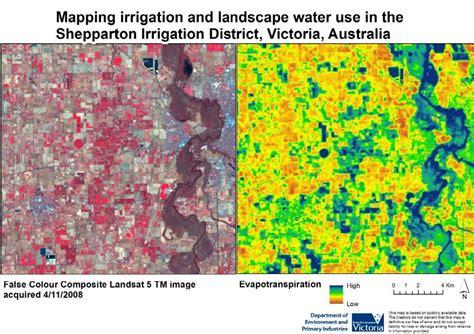 False color composite Landsat image and evapotranspiration map