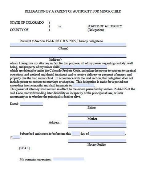 minor child power  attorney delegation form