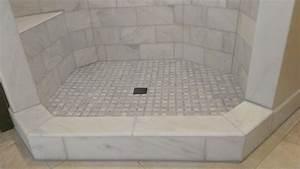 "MASTER BATHROOM - Shower - Carrara Marble 6"" x 12"