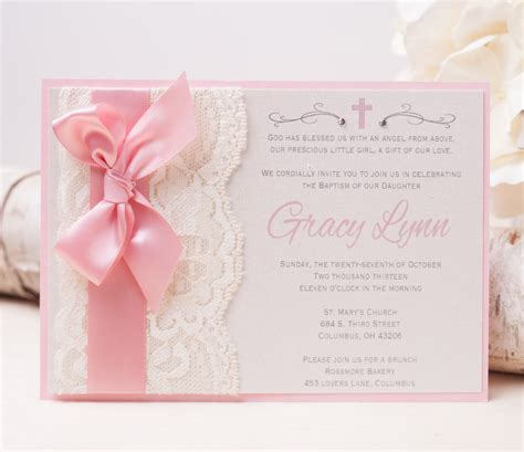 Precious Moments Baby Shower Theme by 20 Off Gracy Lace Invitation Pink Baptism Invitation