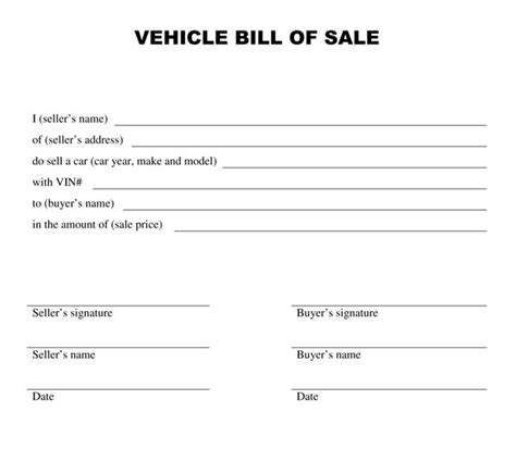 used car bill of sale template free printable auto bill of sale form generic