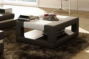 Table Basse Cuir : table basse en cuir italien wagram gris fonc et blanc mobilier priv ~ Teatrodelosmanantiales.com Idées de Décoration