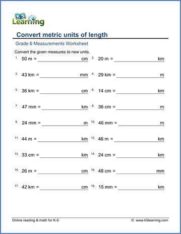 grade 6 measurement worksheets metric lengths mm cm m