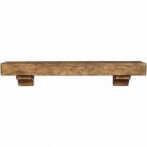 Rustic Pine Wood Fireplace Mantel Shelf Brick-Anew