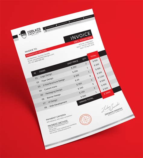 8 5x 11 business card template psd free professional business invoice design template in ai