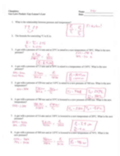 gas laws packet key chemistry name he er gas laws packet lussac s law date k m i i t f