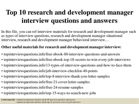 Questions For Production Manager And Answers by Top 10 Research And Development Manager