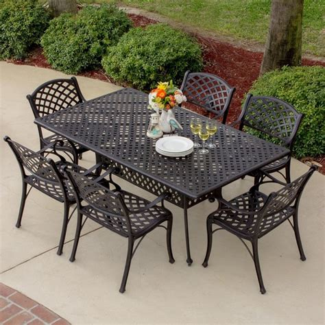 heritage 6 person cast aluminum patio dining set modern