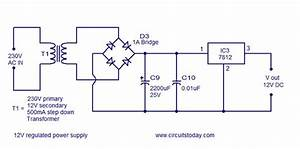 Circuit Diagram Of Rectifier And 7812 12v Power Regulator