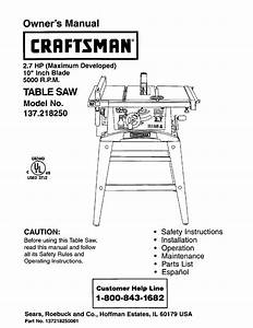 Craftsman Saw 137 21825 User Guide
