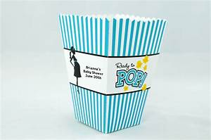 ready to pop teal personalized baby shower popcorn boxes With ready to pop popcorn boxes