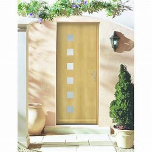 porte d39entree bois avec inserts en inox ou oculus vitre With porte en bois avec vitre