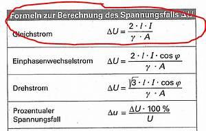 Spannungsabfall Kabel Berechnen : normquerschnitt der zuleitung zwischen sekund rseite des transformators und leuchtmittel ~ Themetempest.com Abrechnung