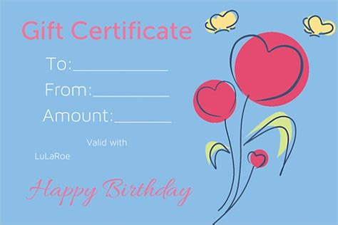 birthday gift certificate templates sample templates