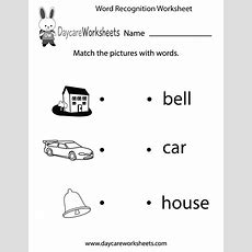 Free Word Recognition Worksheet For Preschool