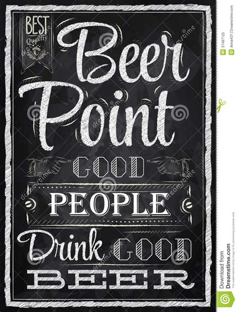 poster lettering beer point chalk royalty  stock