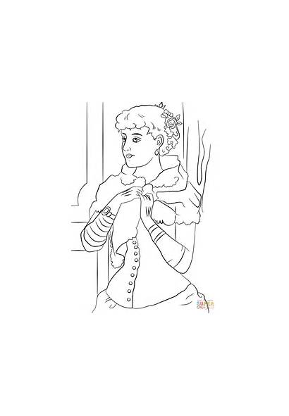 Coloring Victorian Woman Pages Printable Drawing Era