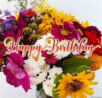 Birthday Flowers Happy Flower Wishes Bday Animated