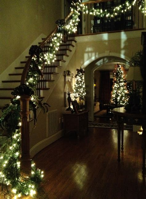lighted garland for staircase southern 39 n sassy christmas garland on the stairs